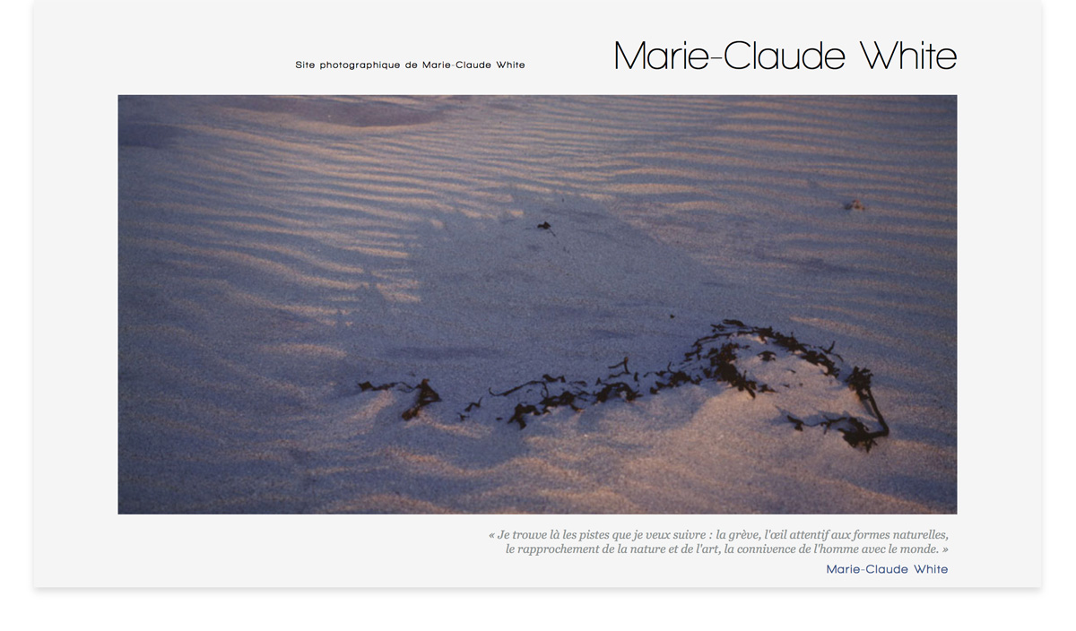 Site photographique de Marie-Claude White